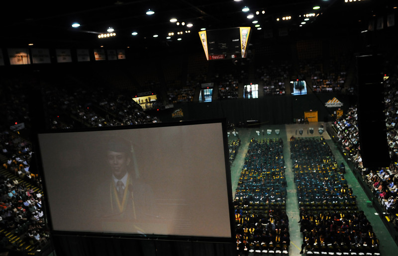 Student Commencement speaker, Quincey Smith, addresses the crowd. Photo by Evan Cantwell