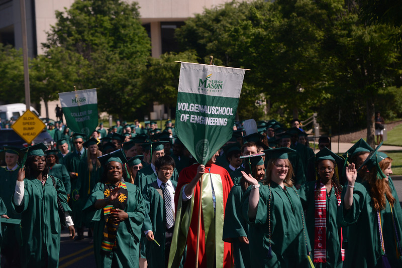 Students and faculty walk in the Academic Procession to kick-off Commencement 2012. Photo by Evan Cantwell/Creative Services/George Mason University