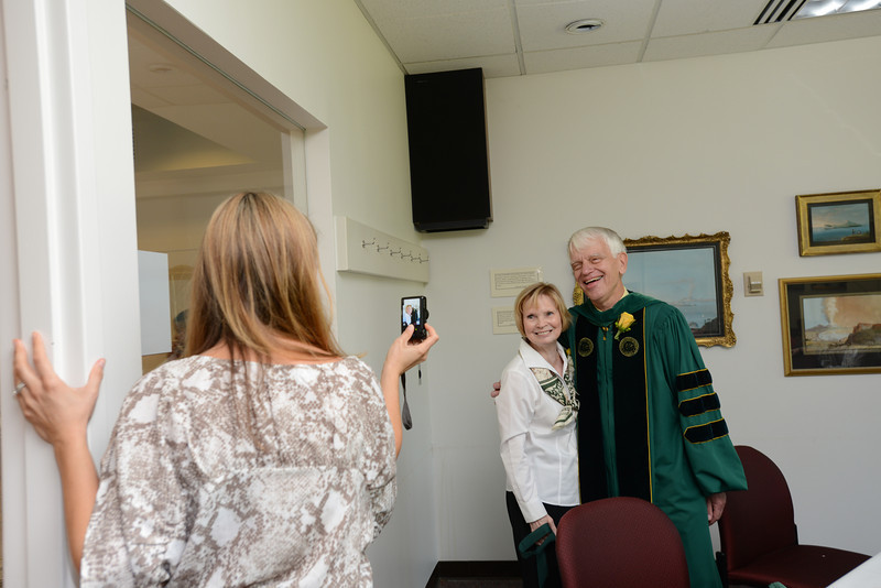 The Merten family posing for the camera. Photo by Evan Cantwell/Creative Services/George Mason University