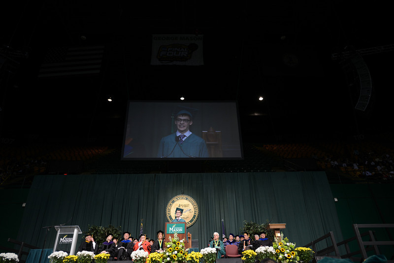 Student speaker Nicolas Cox delivers the graduate address at Commencement 2012. Photo by Evan Cantwell/Creative Services/George Mason University