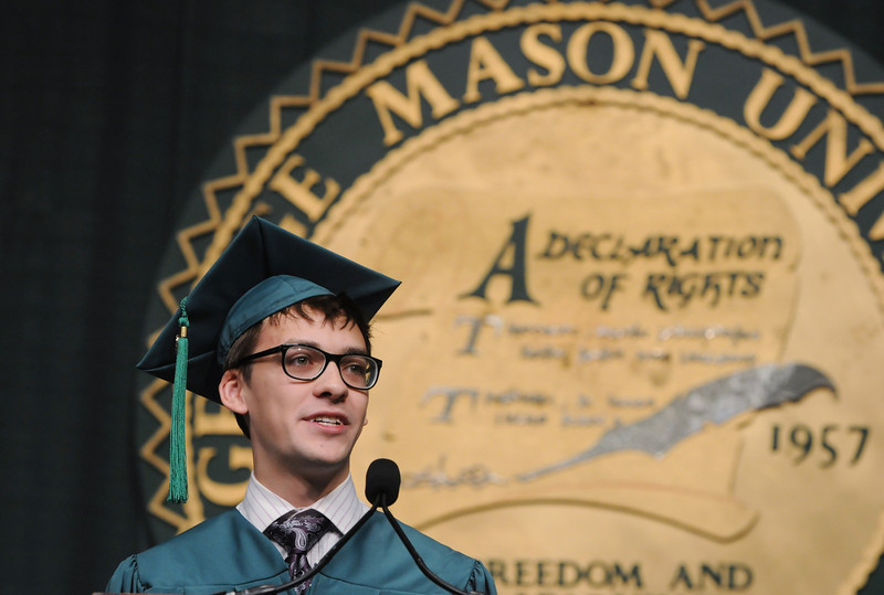Student speaker Nicolas Cox delivers the Graduate address. Evan Cantwell/Creative Services/George Mason University