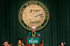 Alan Merten delivers the Commencement Address. Photo by Evan Cantwell/Creative Services/George Mason University