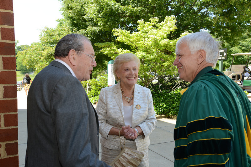 (Left to right) Coleman Raphael former Dean, School of Business Administration (now SOM); Mrs. Coleman and Alan Merten. Photo by Evan Cantwell/Creative Services/George Mason University