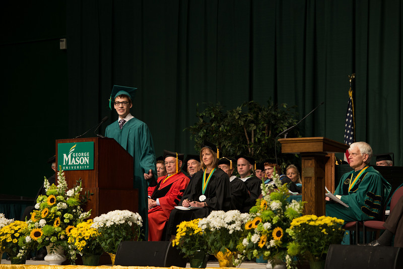Student Nicholas Cox speaks at Commencement 2012. Photo by Alexis Glenn/Creative Services/George Mason University