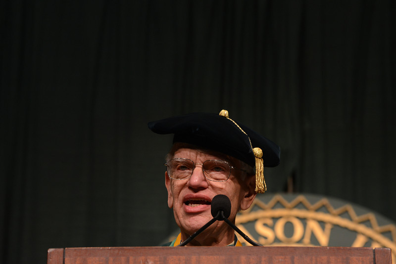 Alan Merten, President of George Mason University, delivers the closing remarks at the Commencement ceremony 2012. Photo by Evan Cantwell/Creative Services/George Mason University