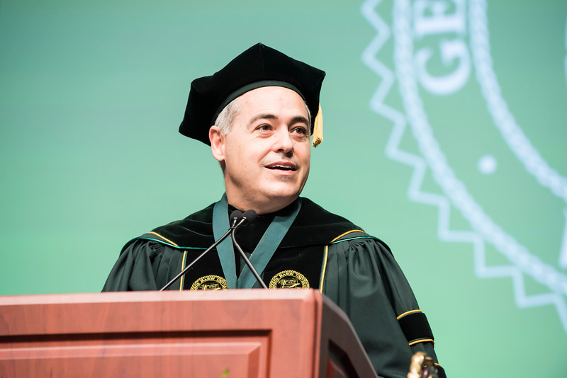 President Ángel Cabrera speaks during the 2016 Winter Graduation at the Fairfax Campus.  Photo by:  Ron Aira/Creative Services/George Mason University