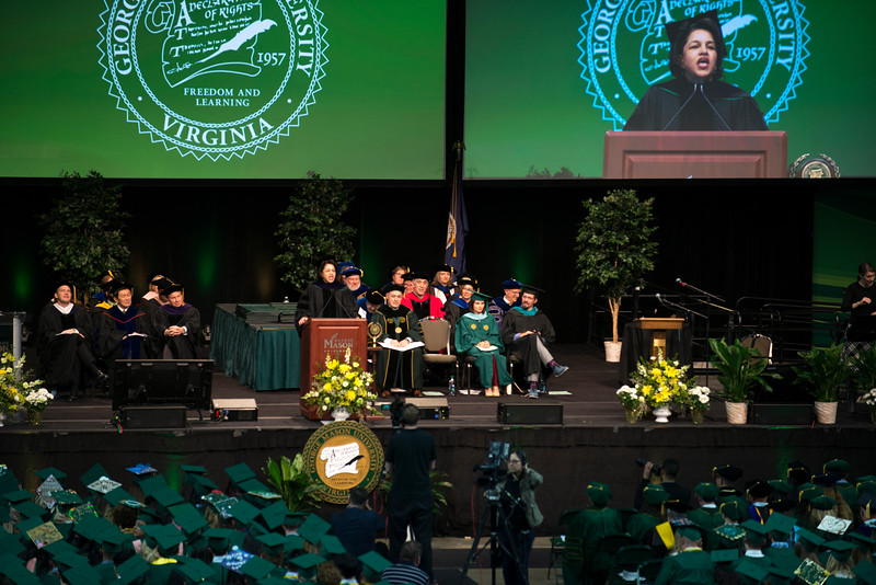 Petula C. Metzler Judge, Prince William General District Court, speaks during the 2017 Winter Graduation at the Fairfax Campus.  Photo by Bethany Camp/Creative Services/George Mason University