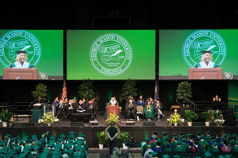 Bethany Hall-Long, Lieutenant Governor, Delaware, speaks during the 2017 Winter Graduation at the Fairfax Campus.  Photo by Bethany Camp/Creative Services/George Mason University