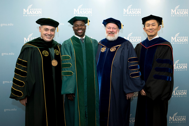 President Ángel Cabrera, Drexel University Executive Vice President for Academic Affairs and Nina Henderson Provost M. Brian Blake, Kenneth S. Ball Dean, Volgenau School of Engineering, and Provost and Executive Vice President S. David Wu at Winter Graduation 2018. Photo by Bethany Camp/Creative Services/George Mason University