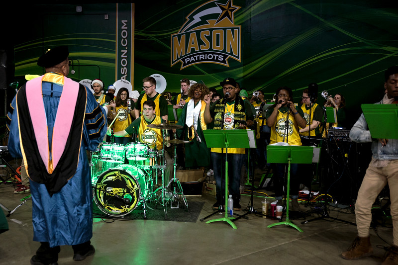 The Green Machine performs during the 2018 Winter Graduation at the Fairfax Campus.  Photo by Bethany Camp/Creative Services/George Mason University