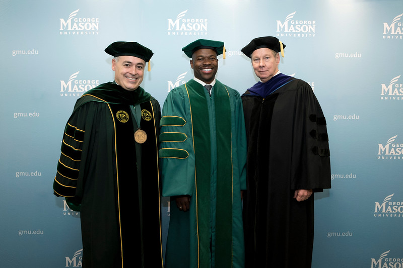 President Ángel Cabrera, Drexel University Executive Vice President for Academic Affairs and Nina Henderson Provost M. Brian Blake, and Board of Visitors Rector Tom Davis at Winter Graduation 2018. Photo by Bethany Camp/Creative Services/George Mason University