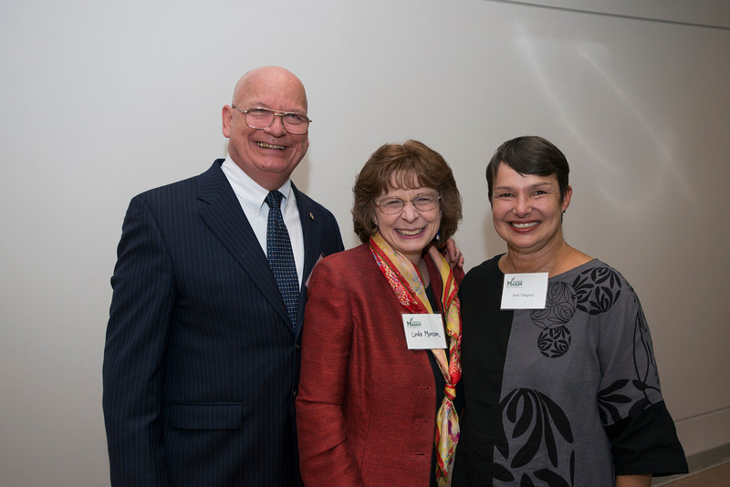 (L to R) School of Music Director and Heritage Chair in music, Dennis Layendecker, Linda Monson, and June Tangney, BOV Faculty Representative attend the Distinguished Faculty Reception. Photo by Alexis Glenn/Creative Services/George Mason University