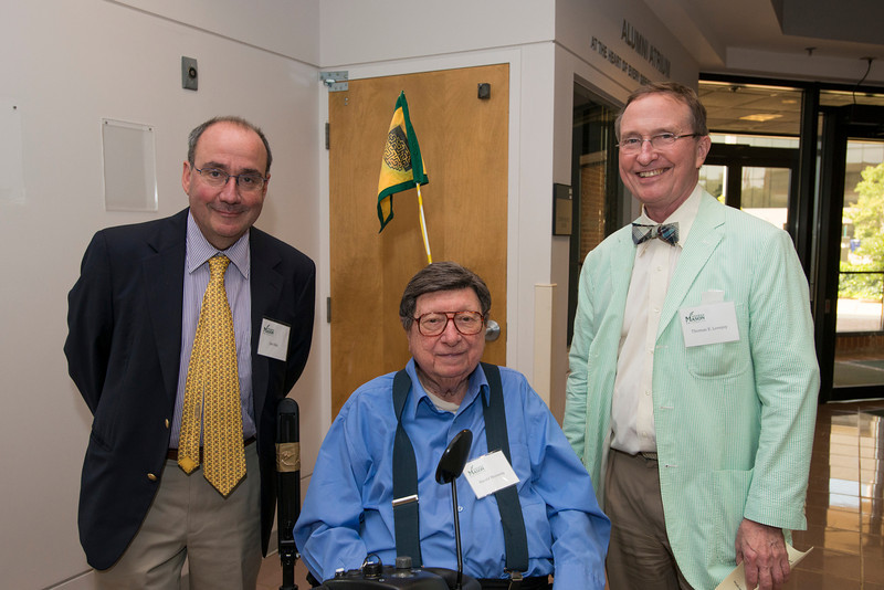 (L to R) Krasnow Director Jim Olds, CLarence J. Robinson Professor Harold Morowitz, and Thomas Lovejoy attend the Distinguished Faculty Reception. Photo by Alexis Glenn/Creative Services/George Mason University