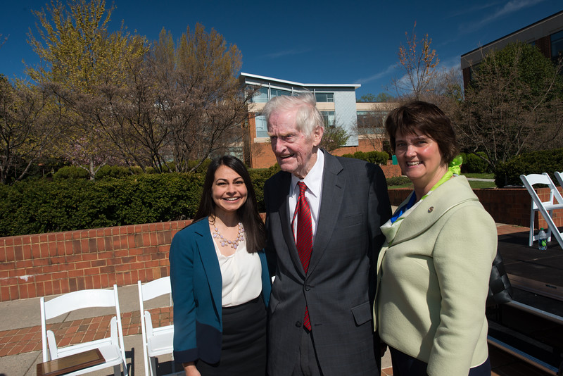 Former Governor A. Linwood Holton Jr. Plaza dedication ceremony. Photo by Evan Cantwell/Creative Services/George Mason University