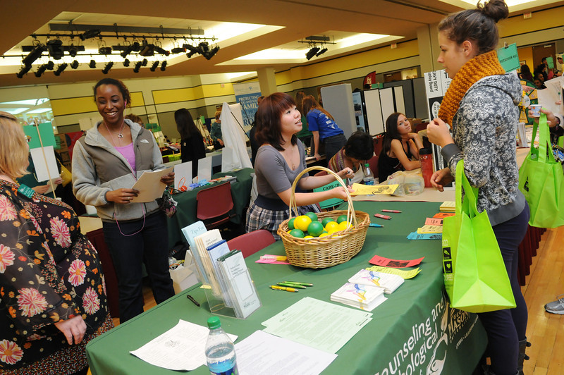 Counseling and Psychological Services booth at the Health and Fitness Expo.  Photo by Evan Cantwell/Creative Services/George Mason University
