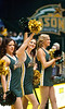 Cheerleaders perform at the Mason Homecoming 2012 basketball game at the Patriot Center, Fairfax Campus. Photo by Alexis Glenn/Creative Services/George Mason University