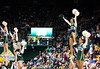 Cheerleaders perform during the Mason Homecoming 2012 basketball game at the Patriot Center, Fairfax Campus. Photo by Alexis Glenn/Creative Services/George Mason University