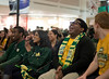 Students attend the Friday night homecoming pep-rally in the Johnson Center. Photo by Craig Bisacre/Creative Services/George Mason University