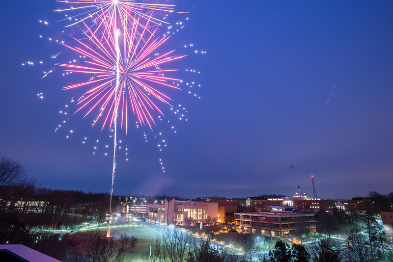 Homecoming fireworks over the Mason pond. Photo by Evan Cantwell/Creative Services/George Mason University