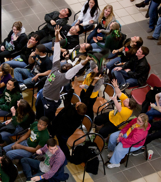 Friday night homecoming pep-rally in the Johnson Center on Feb. 15, 2015. Photo by Craig Bisacre/Creative Services/George Mason University