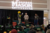 President Ángel Cabrera ansering several questions during the Friday night homecoming pep-rally in the Johnson Center on Feb. 15, 2015. Photo by Craig Bisacre/Creative Services/George Mason University