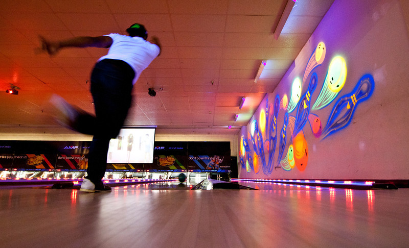 Students take part in Cosmic Bowling during homecoming week. Photo by Craig Bisacre/Creative Services/George Mason University