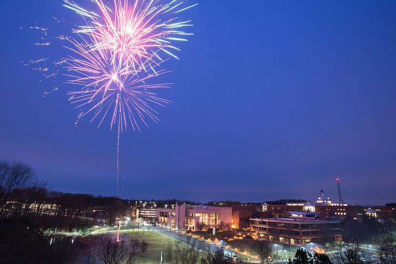 Homecoming fireworks over the Mason pond. Photo by Evan Cantwell/Creative Serivces/George Mason University