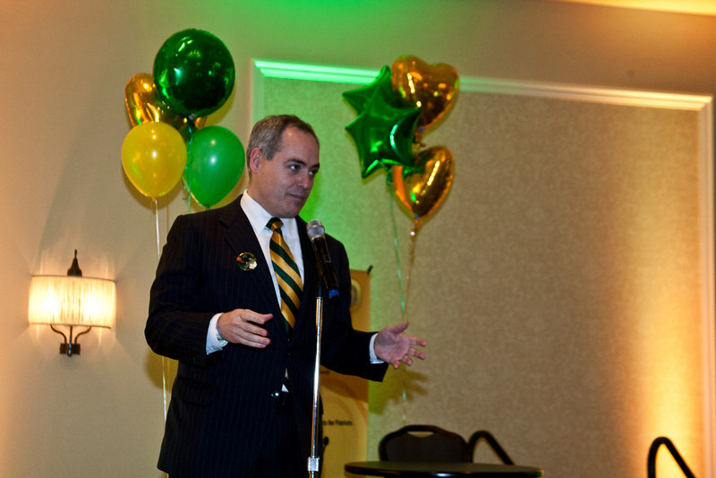 President Cabrera speaks during the Homecoming alumni after party . Photo by Craig Bisacre/Creative Services/George Mason University