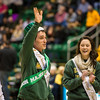 The Homecoming court is announced at the Men's Basketball game against Davidson during Homecoming 2016.  Photo by Ron Aira/Creative Services/George Mason University