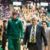 T. Mills Kelly participates in the men's basketball sideline coaching program during Homecoming 2016.  Photo by Ron Aira/Creative Services/George Mason University