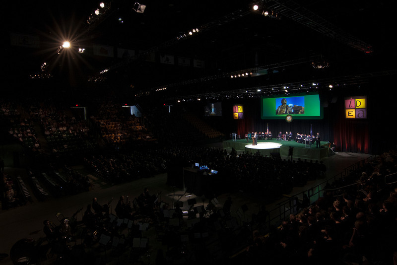President Ángel Cabrera speaks at the Installation Ceremony of his Inauguration at the Patriot Center. Photo by Craig Bisacre/Creative Services/George Mason University