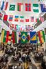 International flags in the Johnson Center