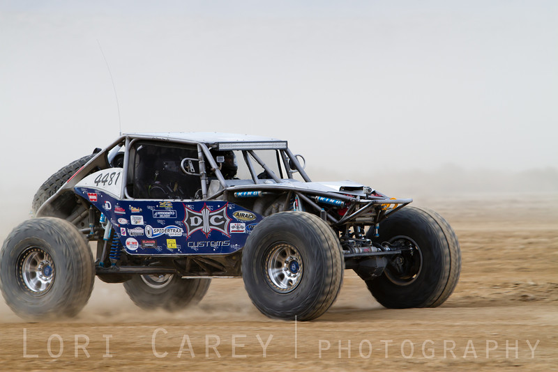 Alex Hardaway on the lakebed, first lap of King of the Hammers off road race, February 7, 2014.
