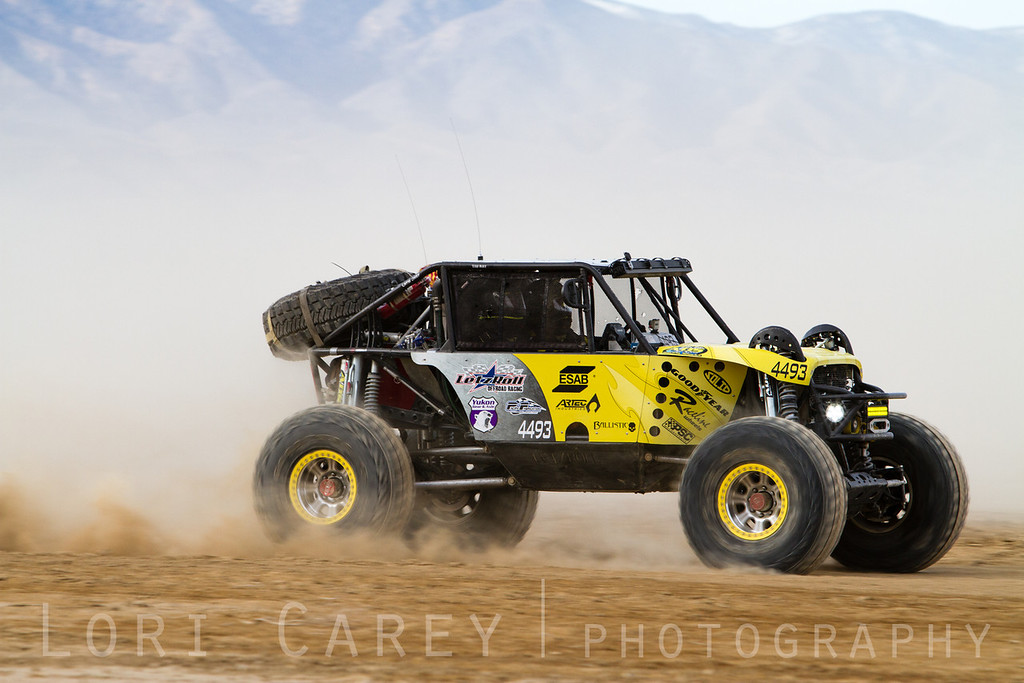 Andrew McLaughlin on the lakebed, first lap of King of the Hammers off road race, February 7, 2014