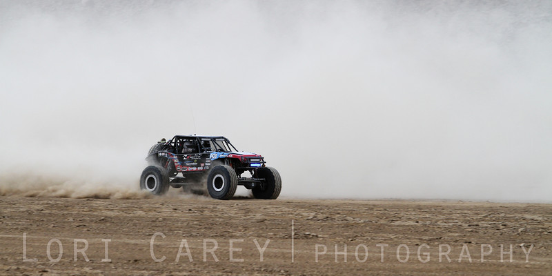 Derek West on the lakebed, first lap of King of the Hammers off road race, February 7, 2014
