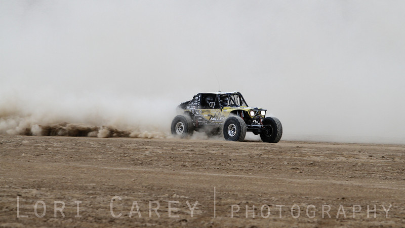 Erik Miller on the lakebed, first lap of King of the Hammers off road race, February 7, 2014