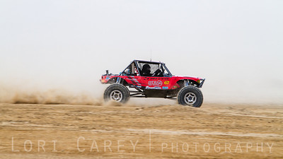 Loren Healy on the lakebed, first lap of King of the Hammers off road race, February 7, 2014. Loren Healy won first place