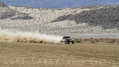 Nick Nelson on the lakebed in the first lap of King of the Hammers off road race. February 7, 2014