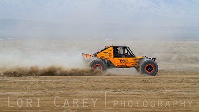 Tom Wayes on the lakebed in the first lap of King of the Hammers off road race. February 7, 2014