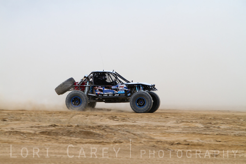 Randy Slawson on the lakebed, first lap of King of the Hammers off road race, February 7, 2014.