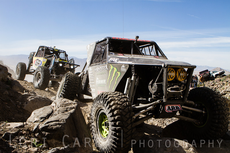 Wayland Campbell in front of Tony Pellegrino as they enter Wrecking Ball at the 2014 King of the Hammers off road race