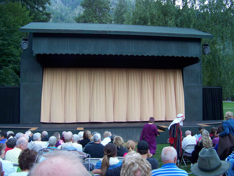 """Leavenworth has a very active <b><a target=""""_new"""" href=""""http://www.leavenworthsummertheater.org/"""">community theater</a></b>.  Each summer, they put on several simultaneous productions.  We came to see Joseph and the Amazing Technicolor Dreamcoat, which was performed on this outdoor stage on the grounds of the National Fish Hatchery. [Leavenworth, WA]"""