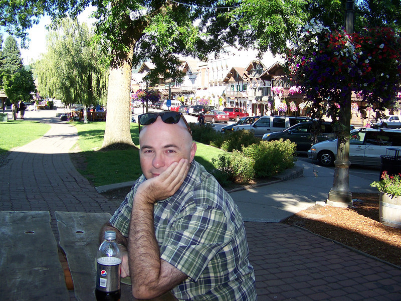 "Pat in the little park that gives ""Park Strasse"" its name.<br /> [Leavenworth, WA]"