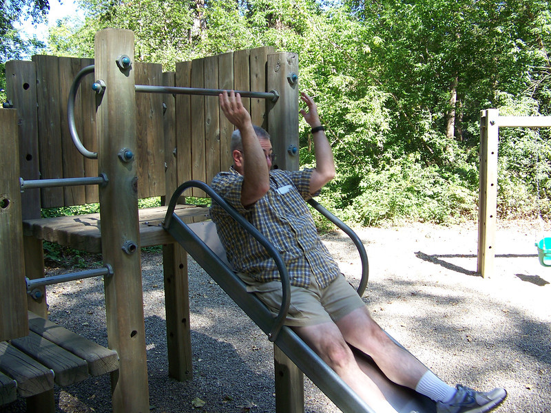 Dave also tried out the slide in Waterfront Park (not as much fun as the swings).<br /> [Leavenworth, WA]