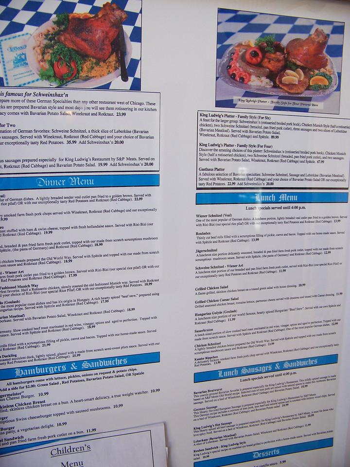 The menu for King Ludwig's restaurant.<br /> [Leavenworth, WA]
