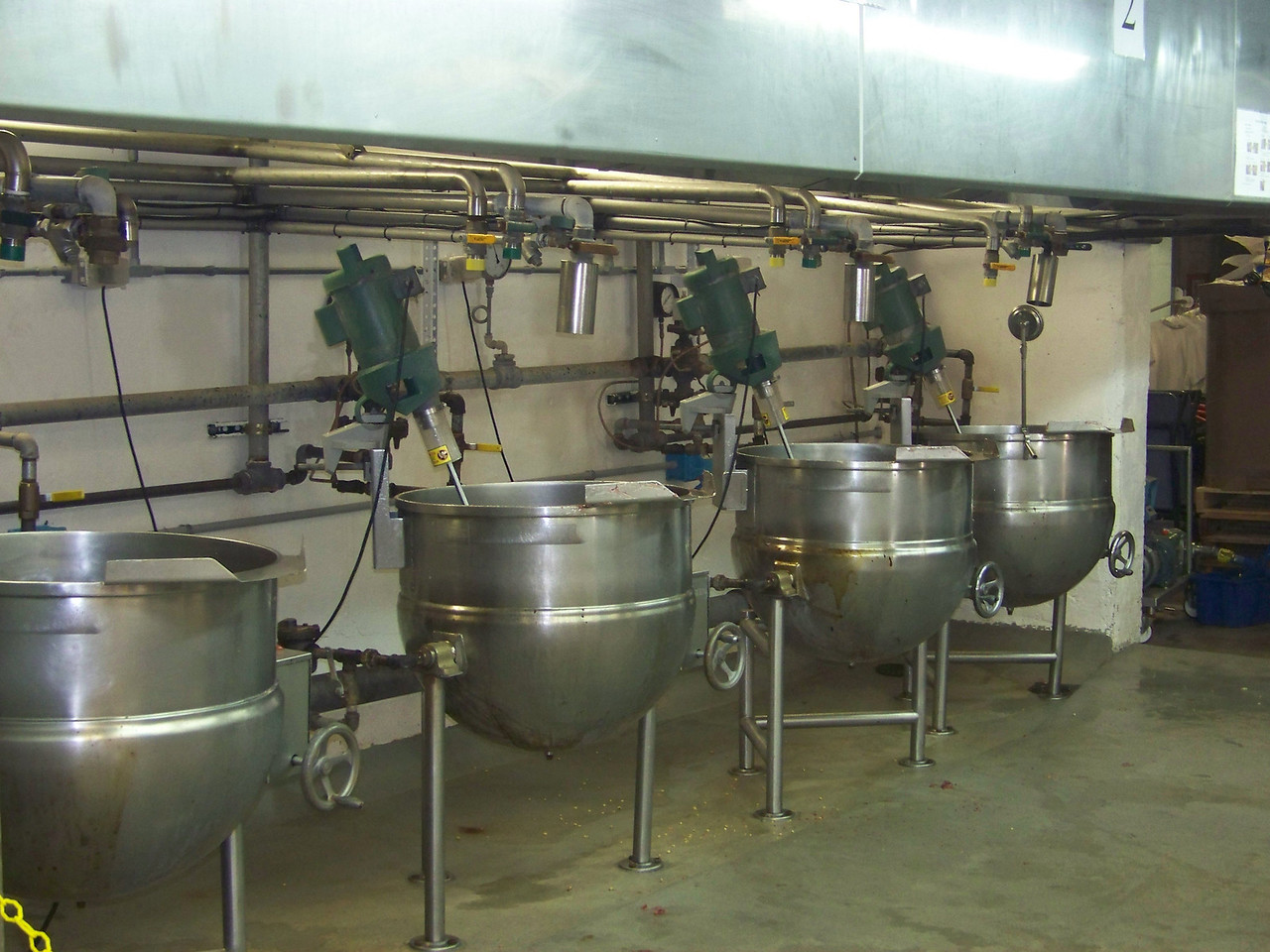 Here's the vats where they puree and cook the fruit, and mix in the nuts and other ingredients.<br /> [Cashmere, WA - Aplets & Cotlets factory tour]