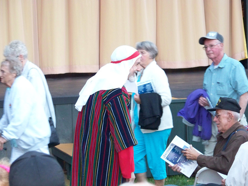 Before the show started, the costumed actors served as ushers to help the audience get seated.  This guy played Joseph's father.  It was a great production--wish I could've taken a few shots during the show, but no photography was allowed.<br /> [Leavenworth, WA - Joseph and the Amazing Technicolor Dreamcoat]