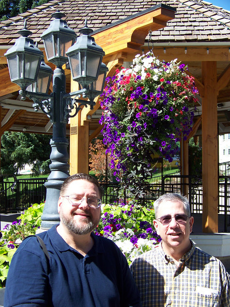 Jon and Dave in front of the park's gazebo.<br /> [Leavenworth, WA]