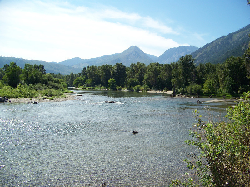 This is the main channel of the Wenatchee River, as seen from the island in Waterfront Park.<br /> [Leavenworth, WA]