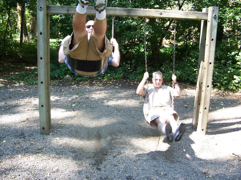 We found a playground in Waterfront Park that didn't have any of those annoying kids hanging around, so Pat and Dave called dibs on the swings.<br /> [Leavenworth, WA]